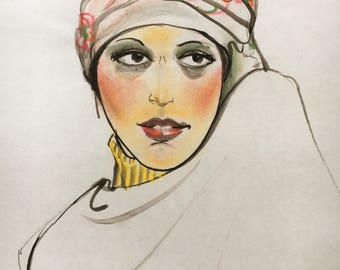 Woman with a Turban: Pastel Drawing