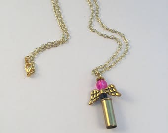 Delicate .22 Caliber Angel Pendant Necklace, Bullet Jewelry