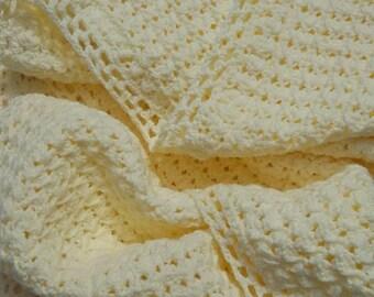 Elegant Ivory Crochet Baby Blanket, Bassinet Baby Blanket, Christening Baby Blanket, Off White Baby Blanket