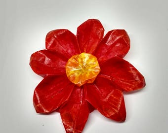 Red Origami Daisy Accessory