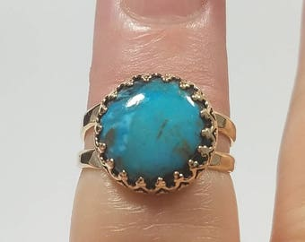 Turquoise Gold Ring, Gold Turquoise Ring, Boho Turquoise Ring, Hippie Rings, Tribal Ring, Boho Jewelry, Turquoise, December Birthstone Ring