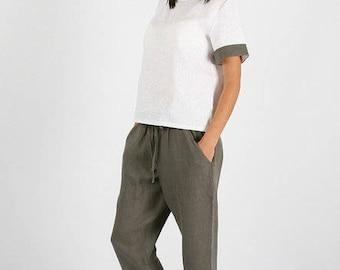 Linen pants women,gray linen pants, loose waist linen trousers pants,Washed women linen trousers,Long linen pants with pockets,harem pants