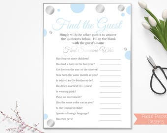 Find the Guest Game ~ Blue and Silver Baby Shower Game ~ Baby Shower Baby Boy Polka Dot ~ Printable Game 21SilverB