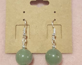 Green Jade Silver Earrings