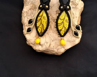 soutache earrings yellow black, soutache, soutache jewelry, soutache jewels, handmade earrings, soutache embroidery