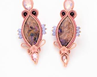 soutache earrings pink, soutache, soutache jewelry, soutache jewellery, handmade earrings, boho earrings, colorful earrings, ethno earrings