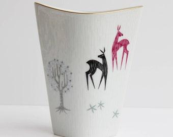 Rosenthal Vase,Inka,WhiteVase,Gold Trim,West German Pottery,hand painted