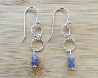 Tanzanite Earrings, Sterling Silver Earrings, Drop Earrings, Circle Earrings, Tanzanite Jewelry, Purple Beaded Earrings, Women's Earrings
