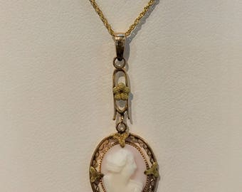 Vintage Cameo Pendant with Chain Included VPL-6