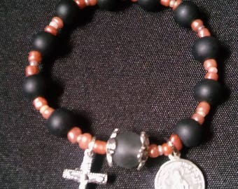 Rosary Stretch Bracelet - Frosted Black, Miraculous Medal