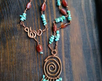 Copper, agate & turquoise necklace