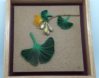 Quilled Leaf and Seed Series - Framed Paper Artistry - Ginkgo