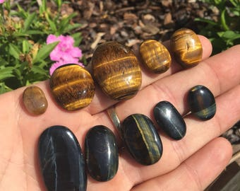 Tigers eye, Yellow Tigers Eye, Blue Tigers Eye, Tigers Eye cabs, Tigers Eye Cabochons, Loose Tigers Eye, Oval Tigers Eye, Natural Tigers Eye