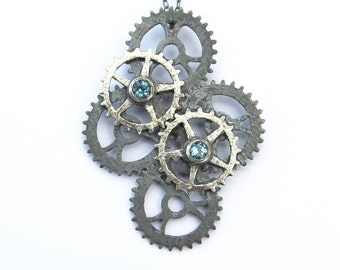 Oxidised Sterling Silver Topaz Six Cog Pendant