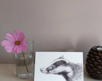 Badger greetings card | Greetings card | Badger card | Badger birthday card | wildlife card