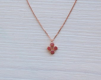 Pink Chalcedony in Rose Gold Necklace