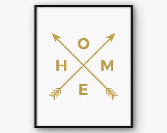 Gold Home Print, Golden Arrow Print, Gold Home Wall Art, Tribal Gold Print, Living Room Print, Living Room Decor, Tribal Home Printable
