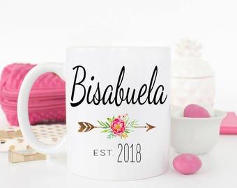 Bisabuela Mug, Gift for new Bisabuela, Grandparent pregnancy Reveal to Bisabuela, New Abuela coffee mug, Spanish Mug,Abuela cup