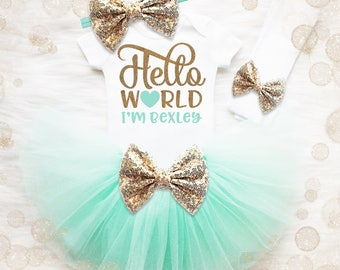 Personalized Baby Girl Coming Home Outfit | Hello World Outfit | Newborn Tutu | Baby Girl Shower Gift | Baby Name Shirt | Baby Girl Clothes