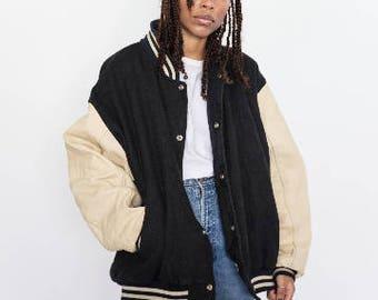 Vintage 90s Black and Beige American College Varsity Jacket