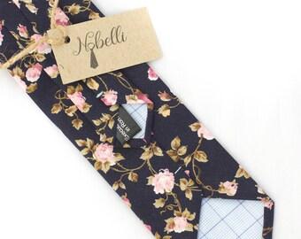 Floral tie, Blue tie, Navy blue tie, Mens ties, Wedding tie, Dark blue tie, Floral necktie, Blue floral ties, mens floral tie, Skinny tie