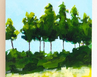 "Small abstract landscape painting, row of trees against sky, sunny summer day, acrylic on 6"" x 6"" panel"