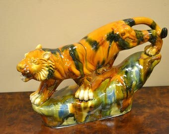 Colorful Ceramic Tiger Statue