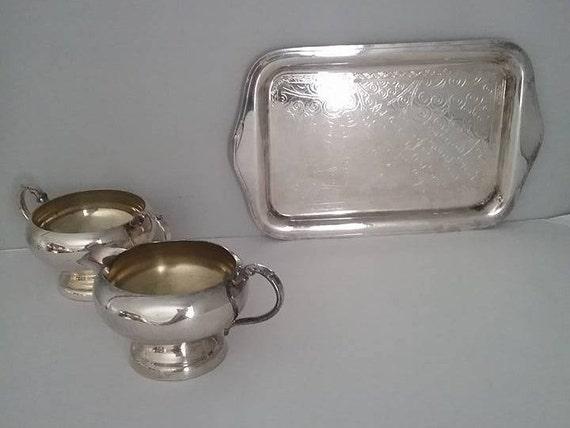 Vintage Silver Cream and Sugar with Tray, Cream and Sugar with Tray, Silver Creamer and Sugar Bowl with Tray, Vintage Silver Tea Set
