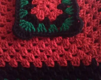 Large Black, Cherry Red, and Paddy Green Blanchet with Black Trim