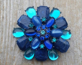 Navy and Teal Tiered Rhinestone Brooch