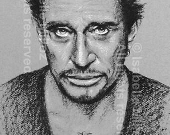 Johnny Hallyday portrait black and white file printable digital downloadable