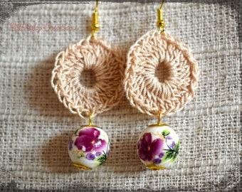 Porcelain earrings,Crochet Earrings,Shabby Chic Earrings,Vintage Earrings,Fairy Earrings,Rose Earrings,