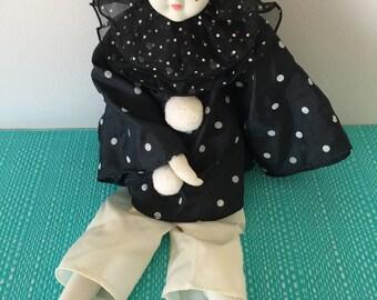 Vintage Tristan, Arlekino, Ceramic+ Soft figurine collectables 1980's, 80's Art Deco, ceramic, doll
