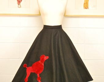 1950's Black and Red Felt Poodle Skirt / Circle Skirt / Pin Up / Rockabilly / Rare Collectable Retro