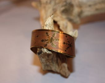 Brass Snowflake Cuff Bracelet with Copper Accents