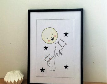 "Graphic poster for children ""Choumi et Michou : in the moon"" - graphic design poster."