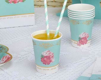Eternal Rose Cups - Paper Party Cups 256ml ,shabby chic,tea party,wedding,tableware,china look