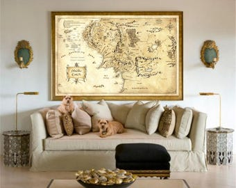 Lord Of The Rings, Valentines Day, Day Gift For Him, Gift For Boyfriend, Lord Of The Rings Poster, Middle Earth Map, Lord Of The Rings Map
