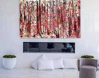 Abstract Painting Modern Wall Art, Black White Pink Yellow Red Orange Red Saxe Blue. Original Abstract Art on Canvas.