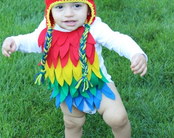 Halloween Baby Parrot costume baby Parrot outfit baby costume Parrot baby picture baby photo prop baby onesie, Hat is NOT included