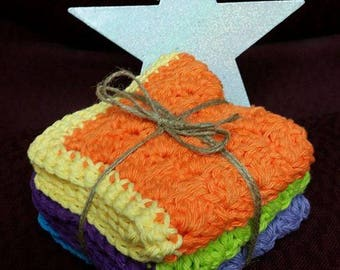 100% Cotton Crocheted Dish Cloths (Set of 3)