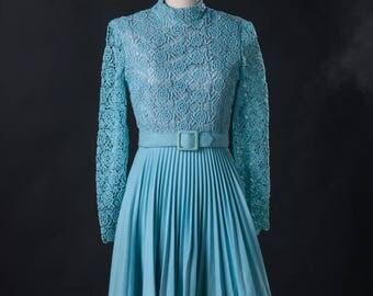 Blue Lace Top 1960s Mini Dress