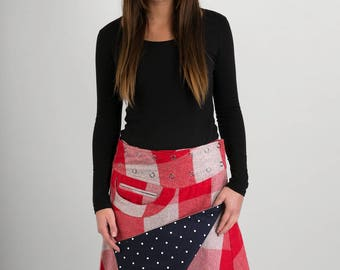 Reversible A Line Red Grey Wool Black White Polka Corduroy Skirt with Pocket Long Length