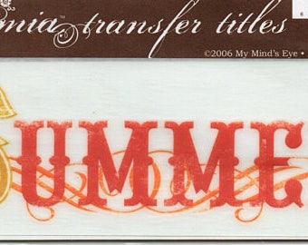 Summer Title Rub On Transfer Embellishments Cardmaking Crafts My Mind's Eye Bohemia