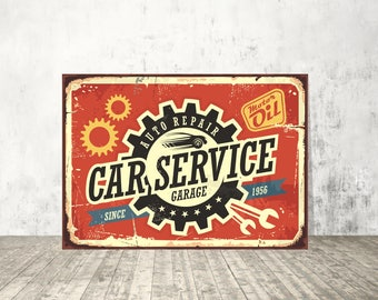 Car service sign, Garage sign, Auto repair signs, Decor sign, Wall art, Vintage metal sign, Car service wall art, Original artwork, Sign art