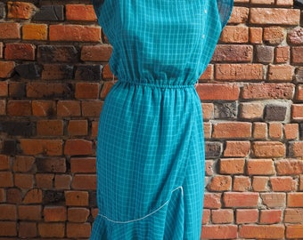 Women's 70s Turquoise Blue Sleeveless Midi Dress With Asymetric Ruffle Hem Size Small Medium