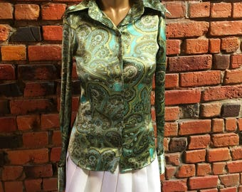 70's Green Paisley Silk Blouse Button Up Long Sleeve 1367