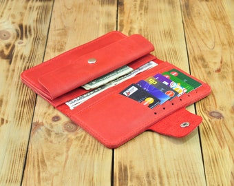 Red wallet, Coin wallet, Travel wallet, Travel organizer wallet, Leather travel wallet, Travel wallet for women, Red leather wallet