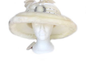 White satin, fur, diamond, and feather church hat made by Mr Hi's Classic, original tags,  wide brim, vintage