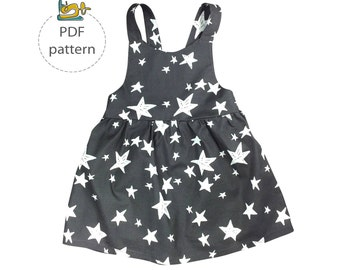 Baby pinafore dress pattern, apron dress sewing patterns pdf, girls pinafore dress, dungaree dress sewing pattern